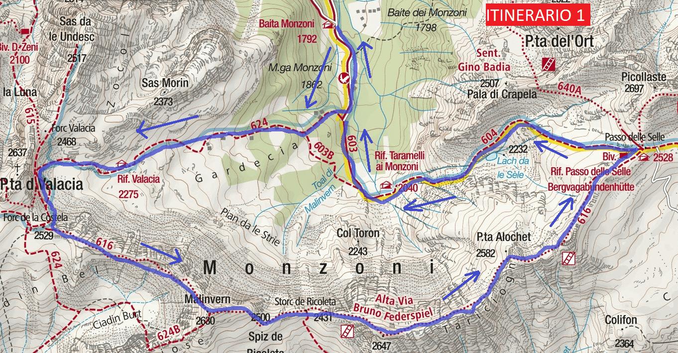 Cartina Alta Via Ferrata Bruno Federspiel Itinerario 1 Dettaglio