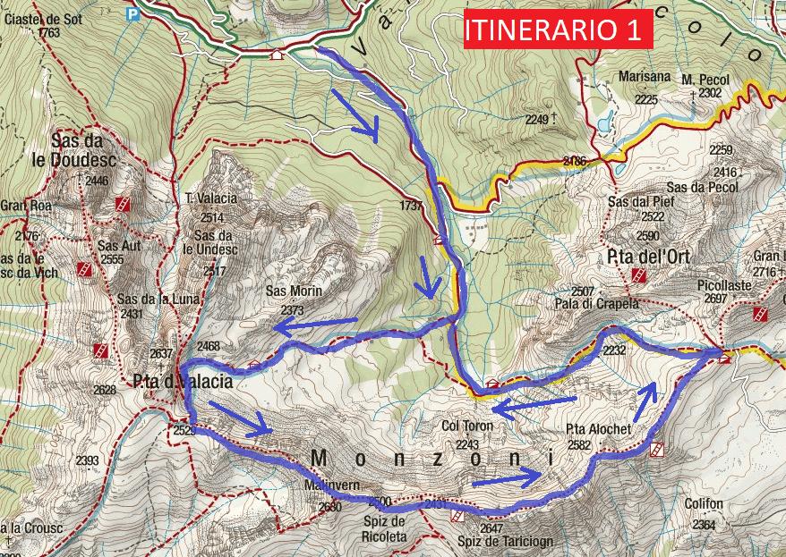 Cartina Alta Via Ferrata Bruno Federspiel Itinerario 1