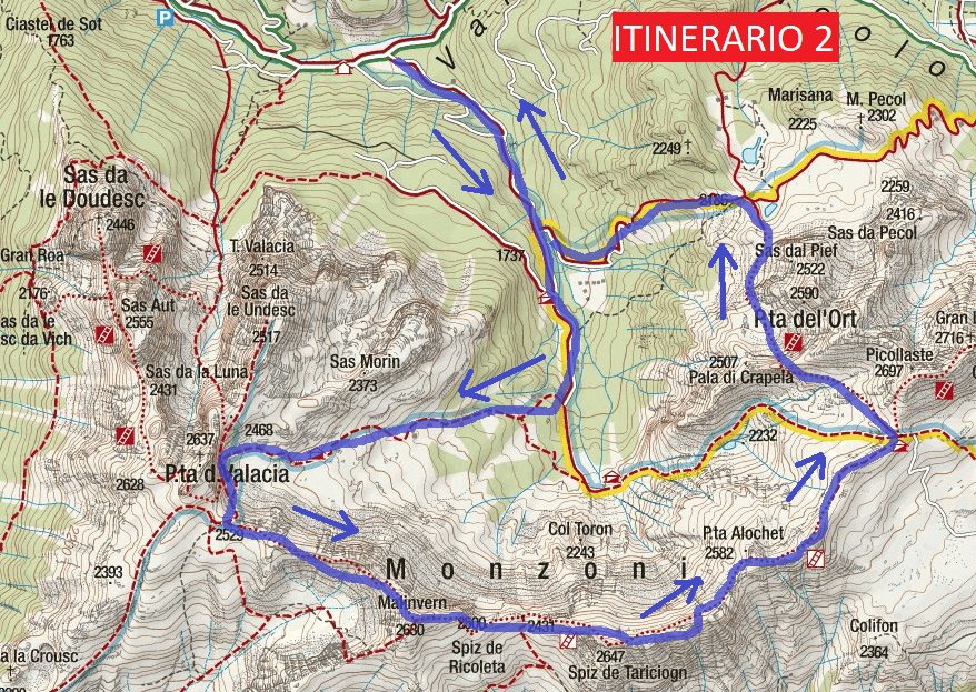 Alta Via Ferrata Map Bruno Federspiel Itinerary 2