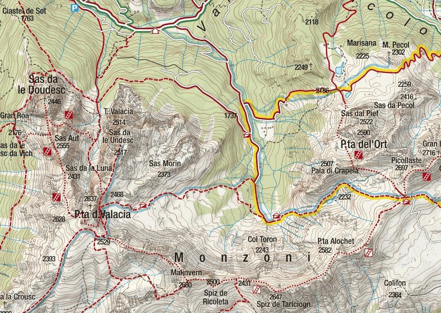 Cartina Alta Via Ferrata Bruno Federspiel