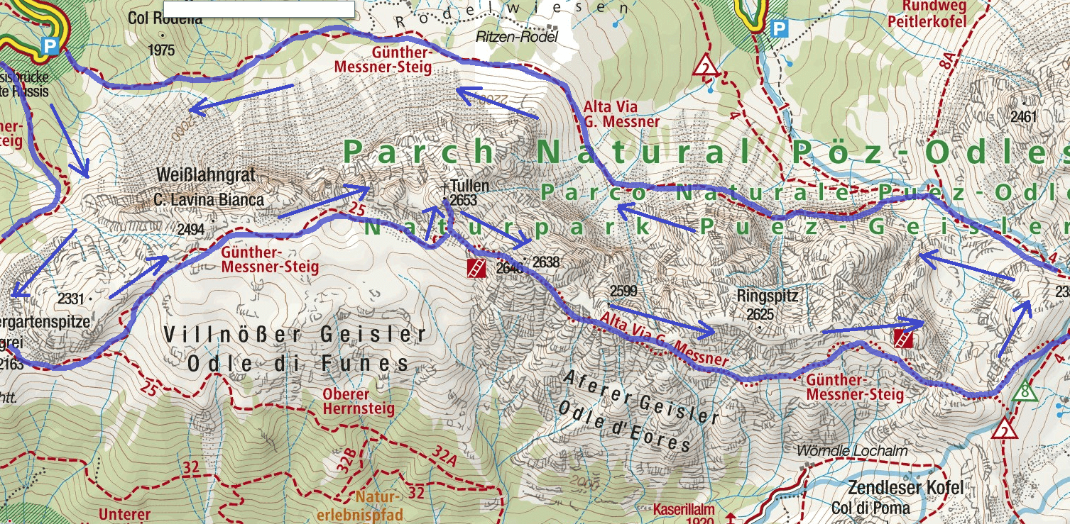 Alta Via Map Gunther Messner Itinerary