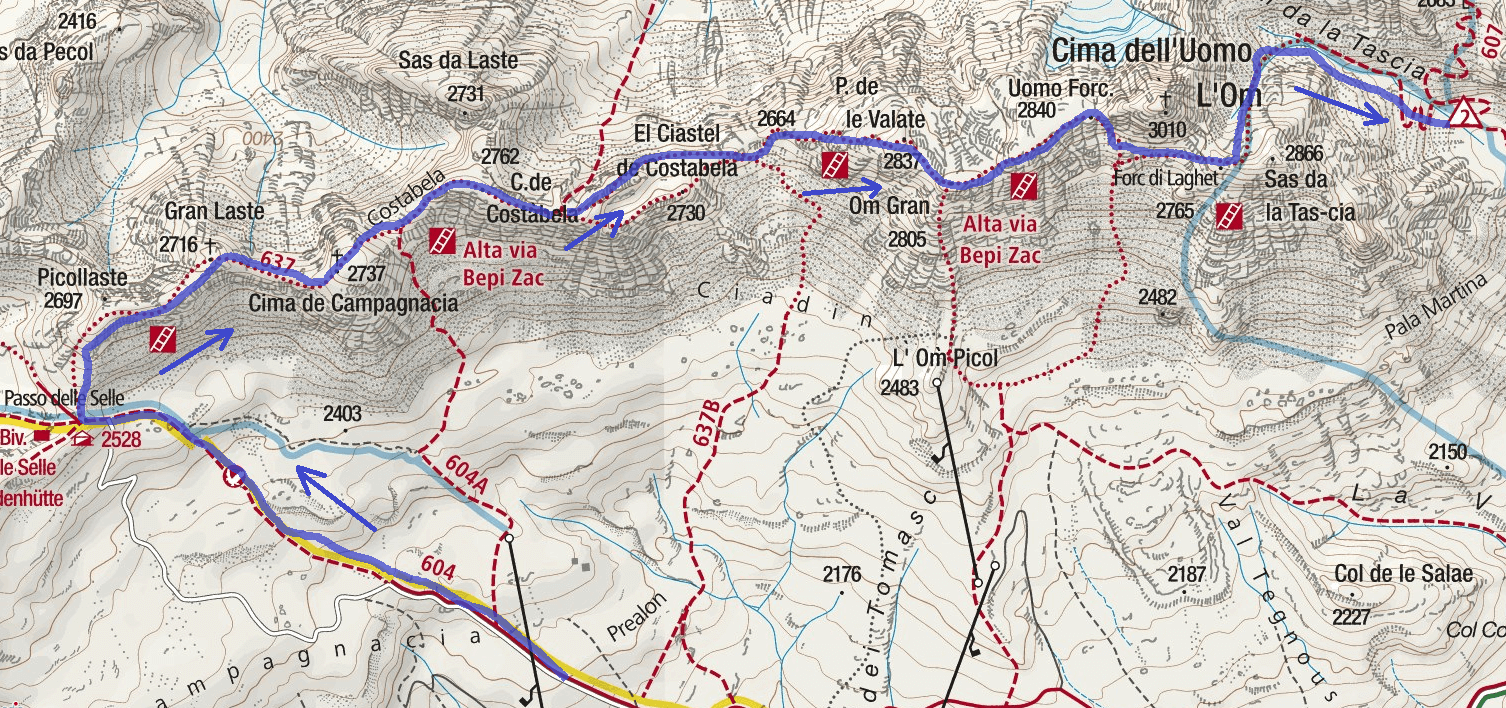 High Map via Bepi Zac Itinerary Detail