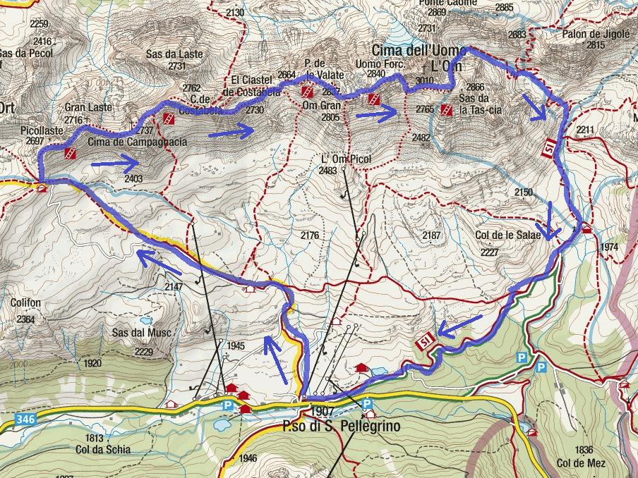 High Map via Bepi Zac Itinerary