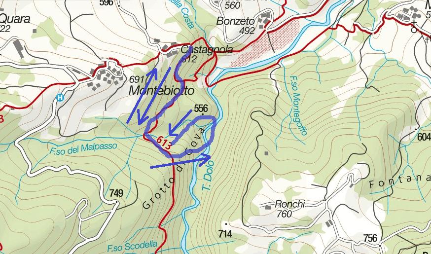 Cartina Balze del Malpasso Itinerario