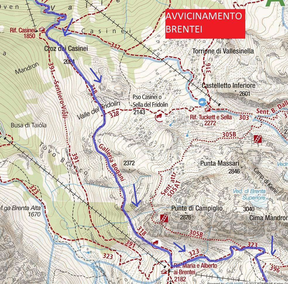 Cartina Bocchette Alte Avvicinamento Brentei