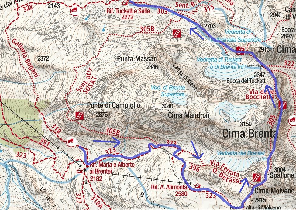 Cartina Bocchette Alte Brentei Tucket