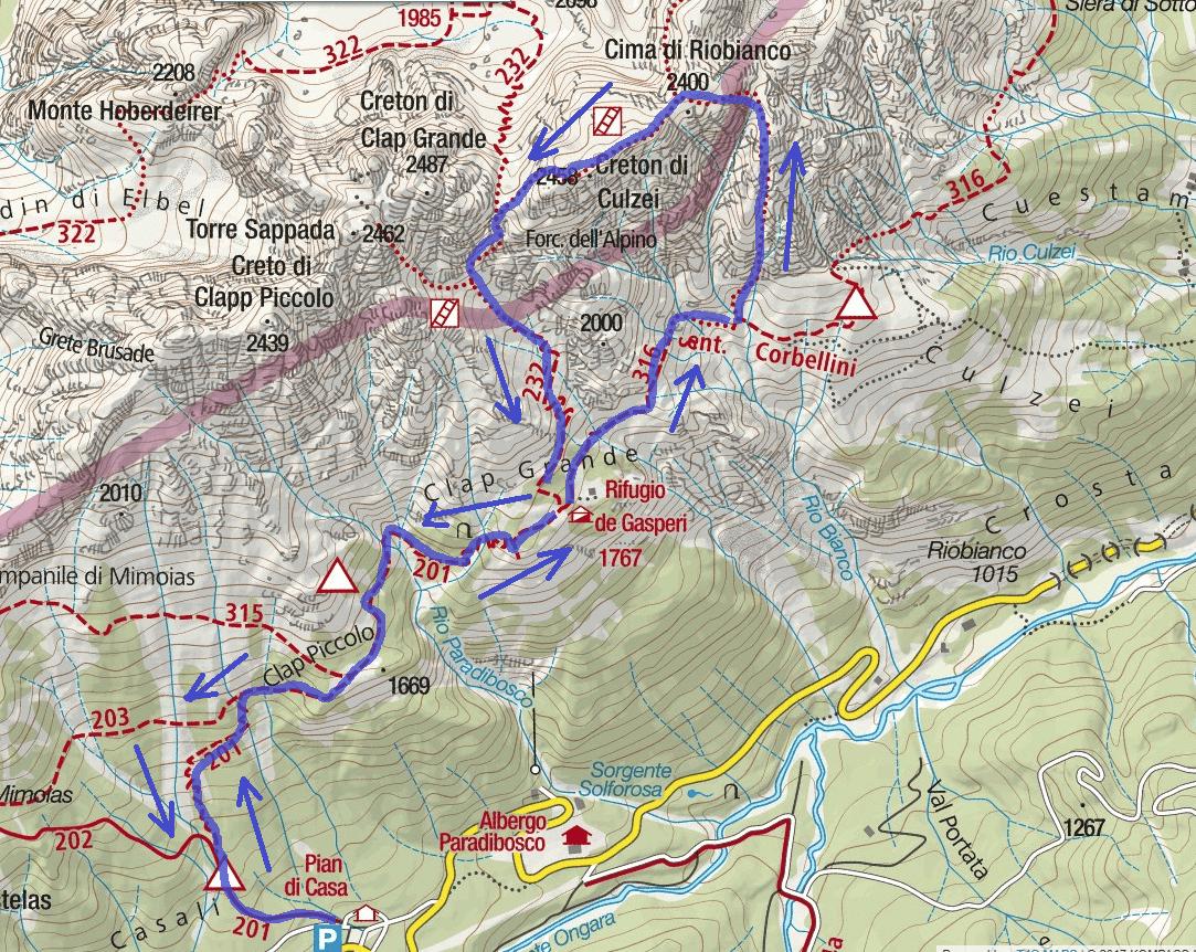 Ferrata map 50 clap creton culzei Itinerary