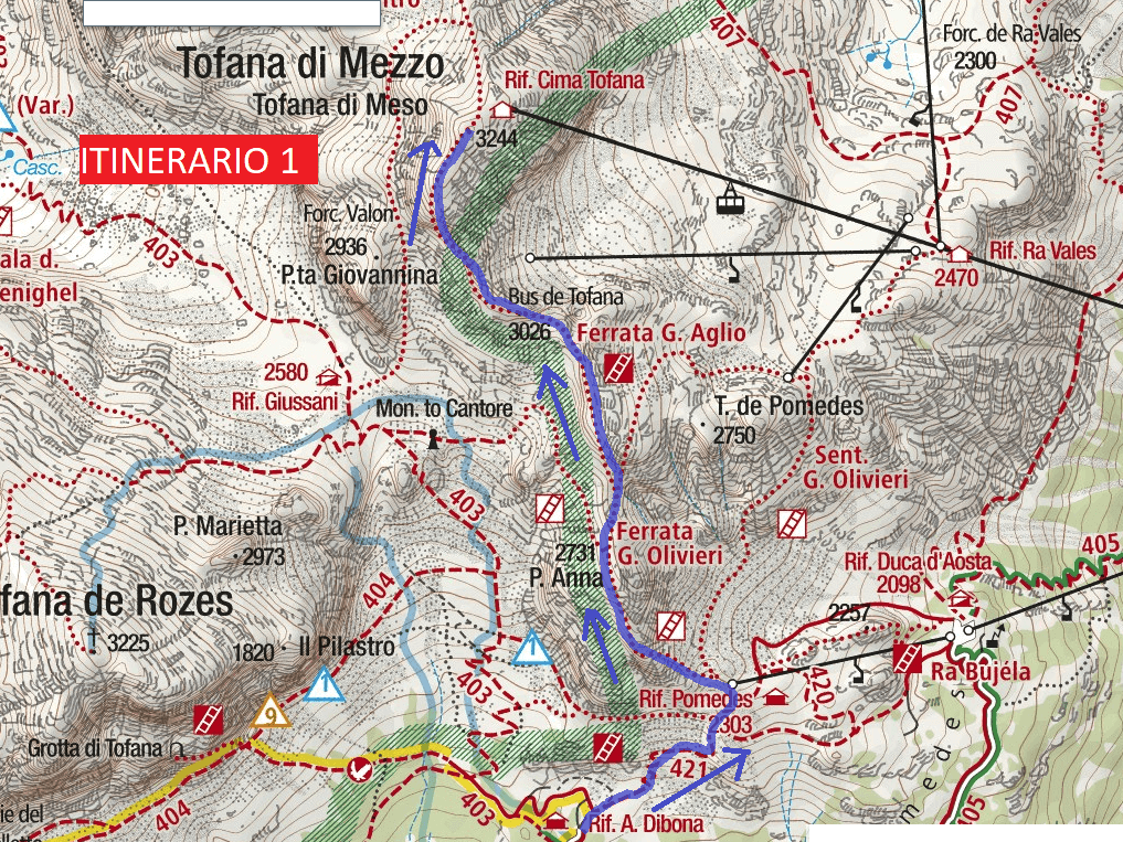 Cartina Ferrata Aglio Itinerario 1
