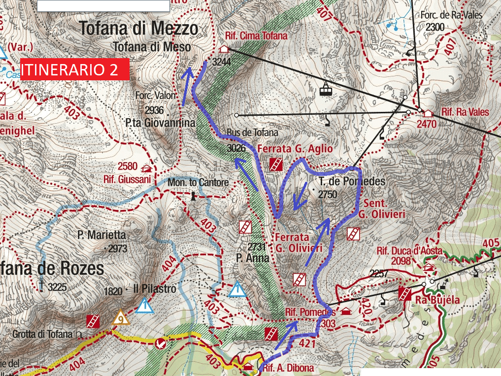 Cartina Ferrata Aglio Itinerario 2