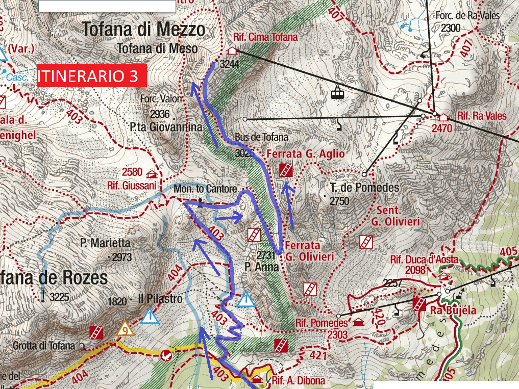 Ferrata Aglio Route Itinerary 3