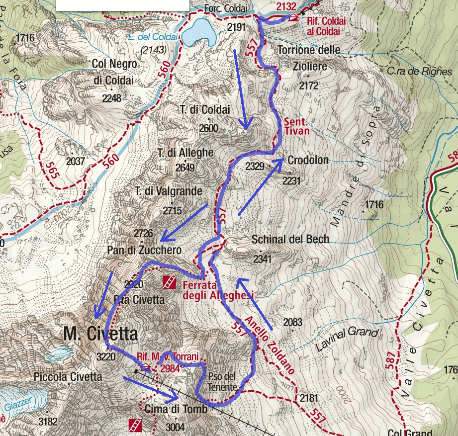 Cartina Ferrata Alleghesi Itinerario Dettaglio