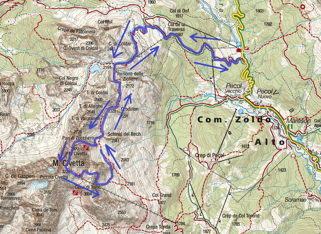 Cartina Ferrata Alleghesi Itinerario