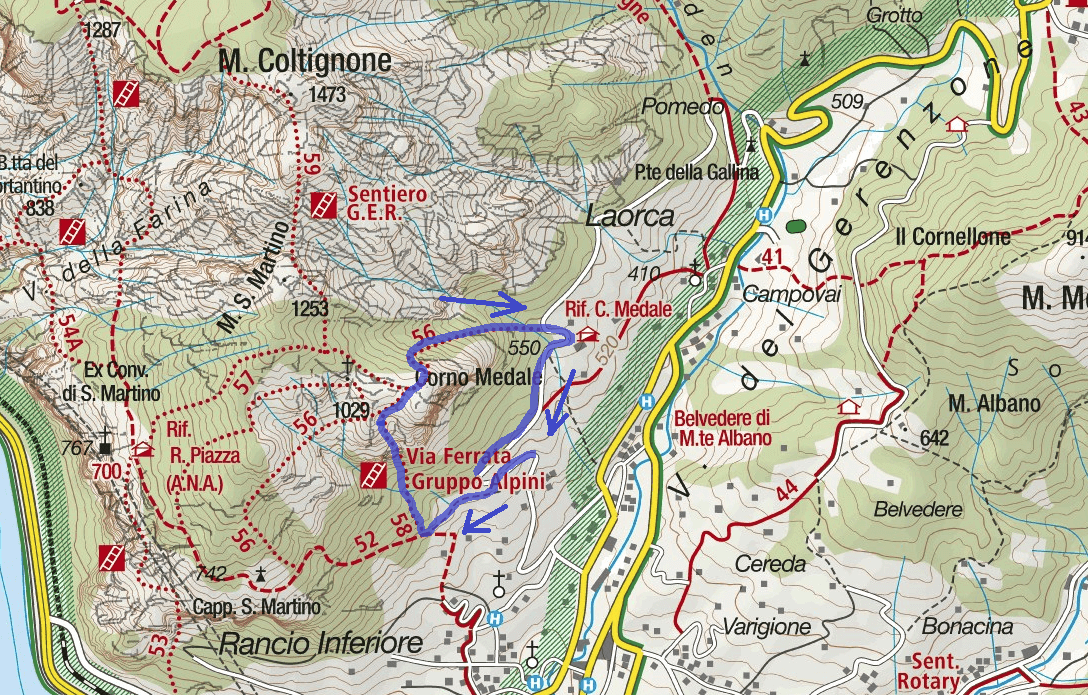Alpine Ferrata Medale Itinerary Map