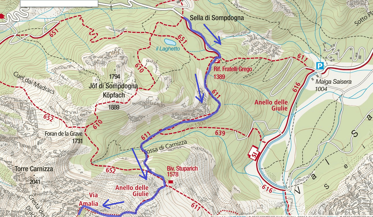 Amalia Ferrata Map Itinerary Detail 1