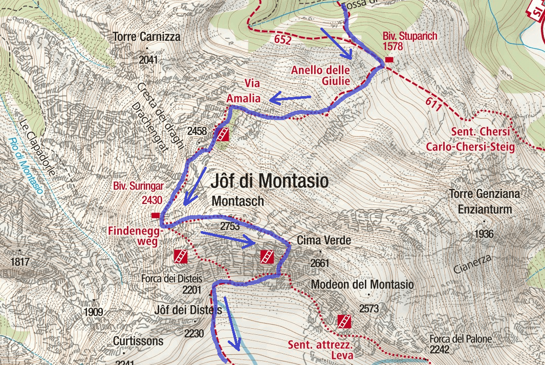 Amalia Ferrata Map Itinerary Detail 2