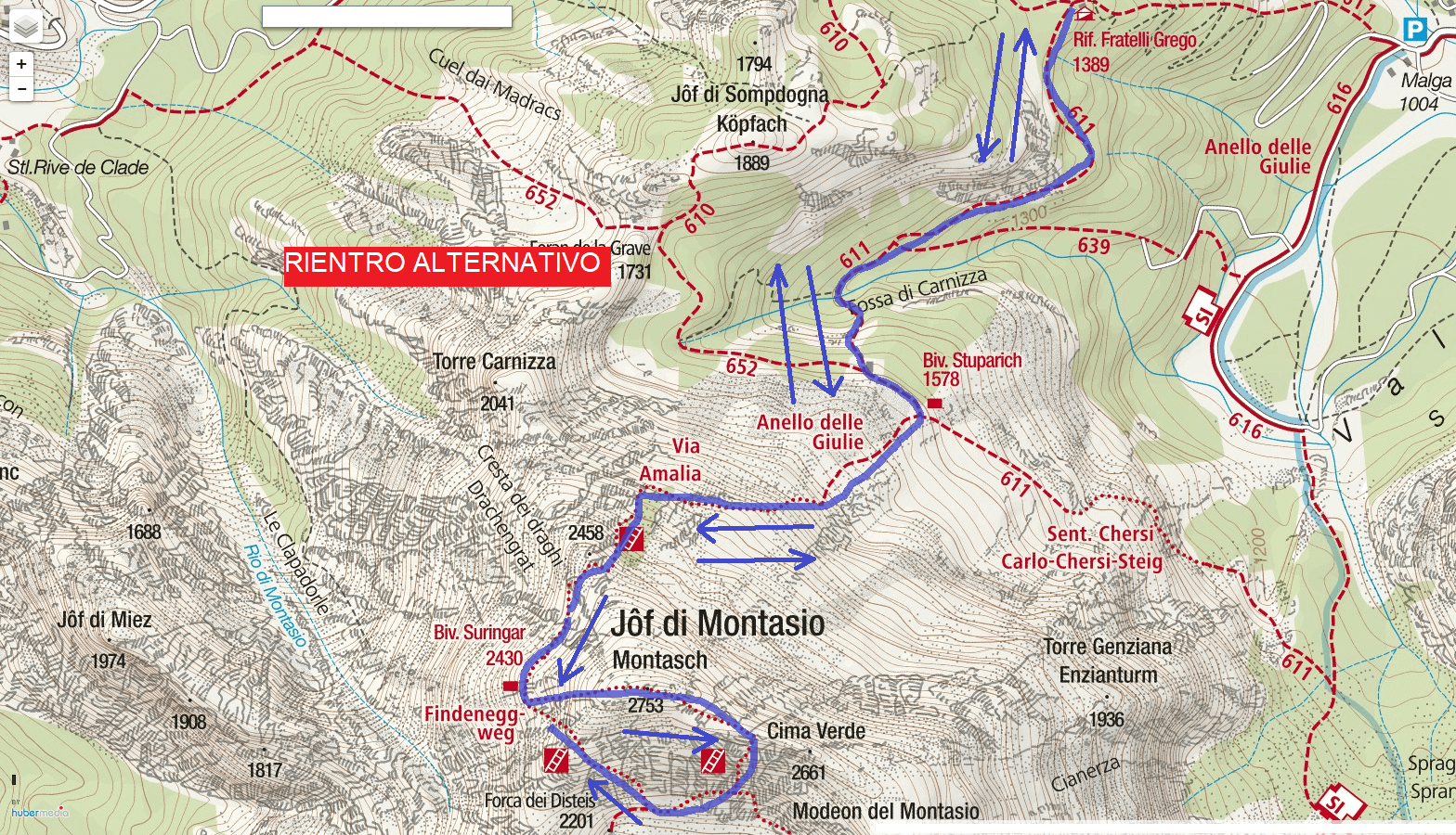 Amalia Ferrata Map Itinerary Detail 4 alternative return