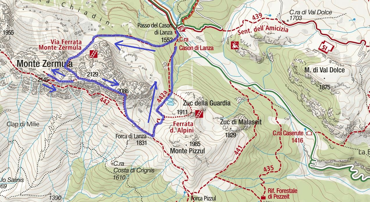 Ferrata map Amici Montagna Zermula Itinerary