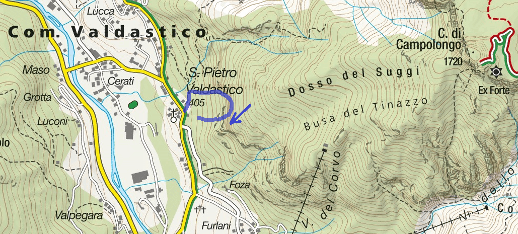 Ferrata Map Rings of the Anguane Itinerary