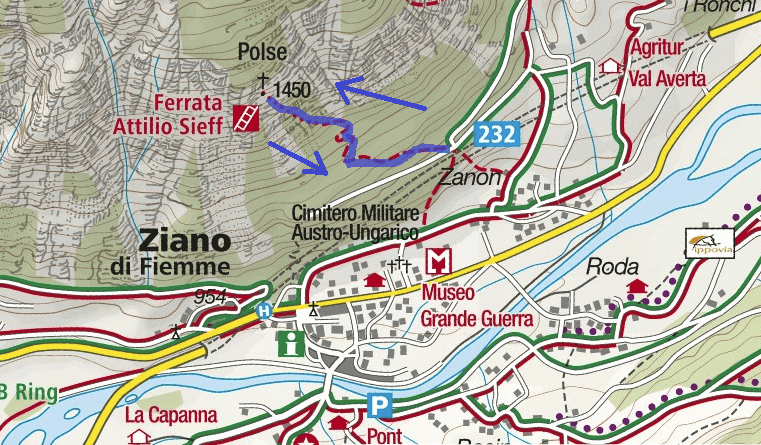 Attilio Sieff Ferrata Route Map