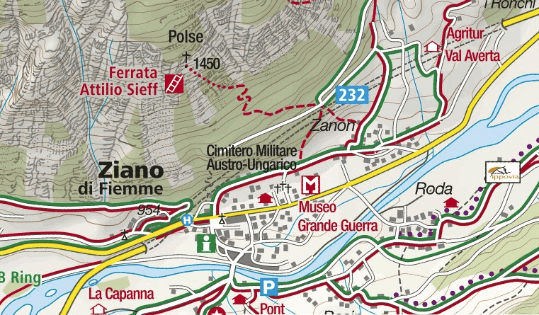 Attilio Sieff Ferrata Map