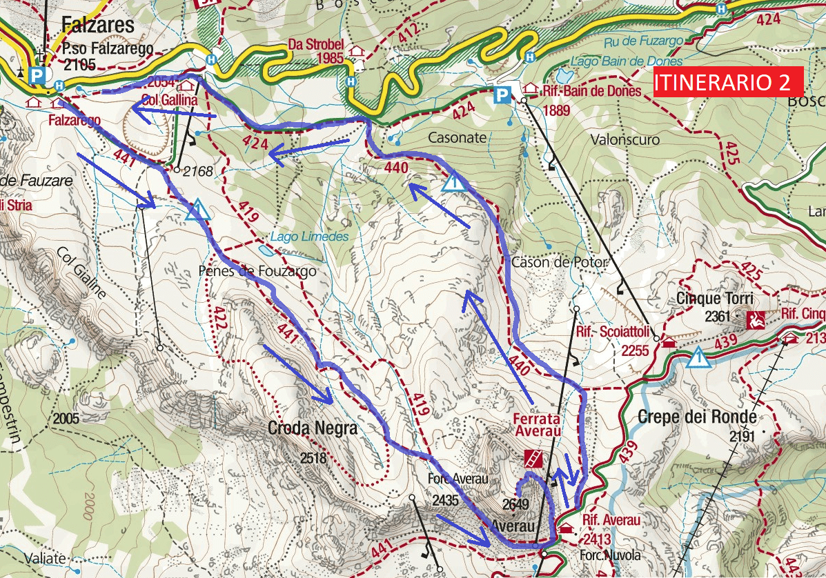 Ferrata Map Averau Route 2