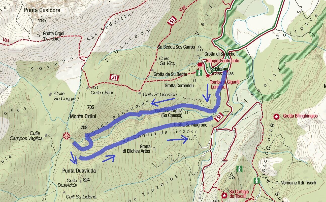 Cartina Ferrata Badde Pentumas Itinerario