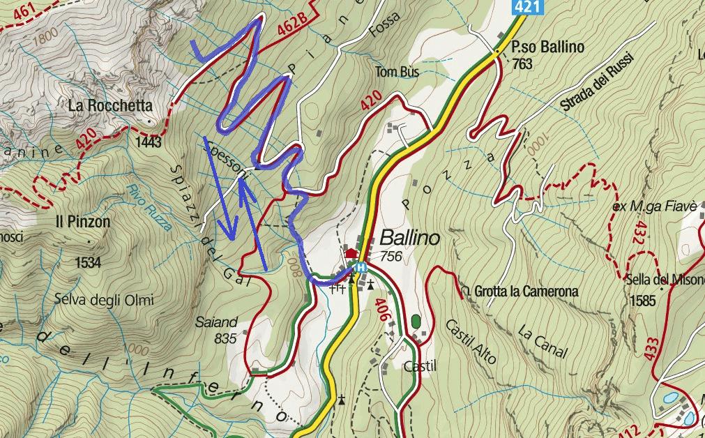 Cartina Ferrata Ballino Cascate Rio Ruzza Itinerario