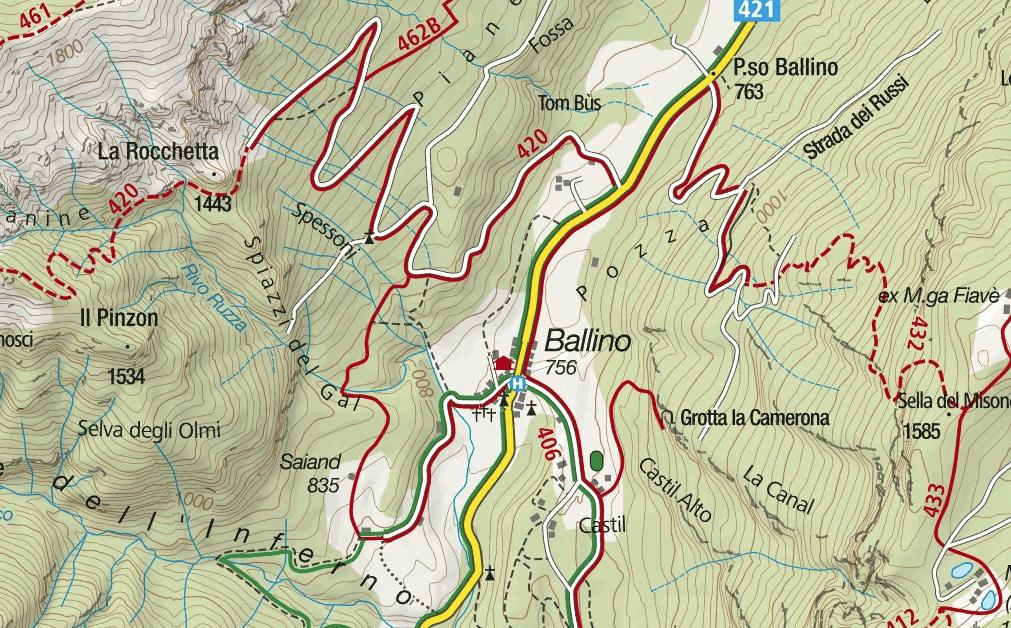 Cartina Ferrata Ballino Cascate Rio Ruzza