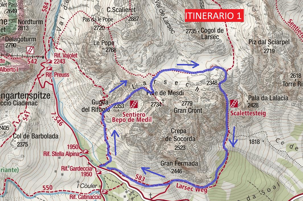 Ferrata Bepo de Medil Route Itinerary 1