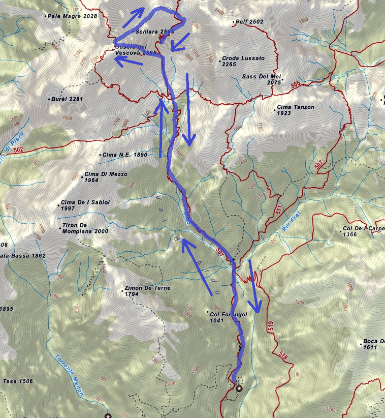 Berti Schiara Ferrata Map Itinerary