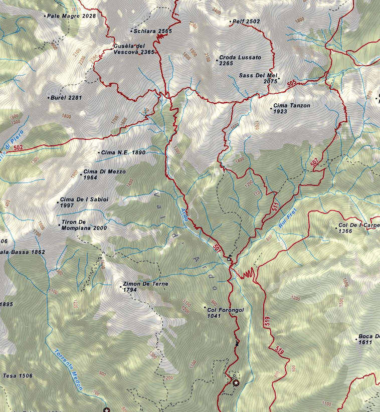 Berti Schiara Ferrata Map