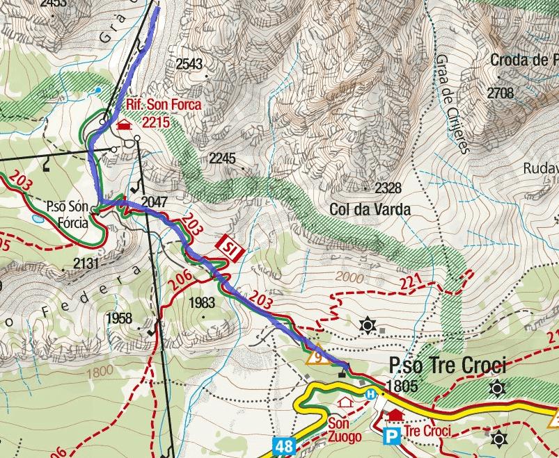 Cartina Ferrata Bianchi Cristallo Itinerario Dettaglio 1