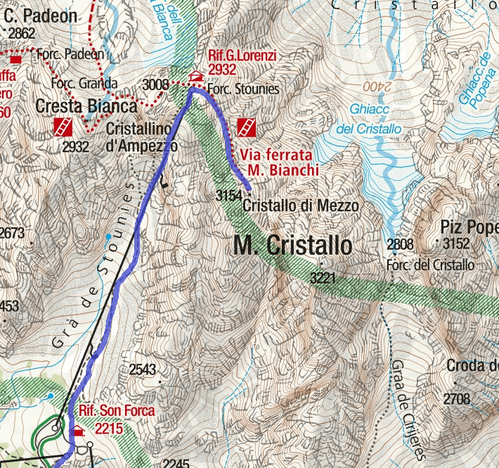 Bianchi Cristallo Ferrata Map Itinerary Detail 2