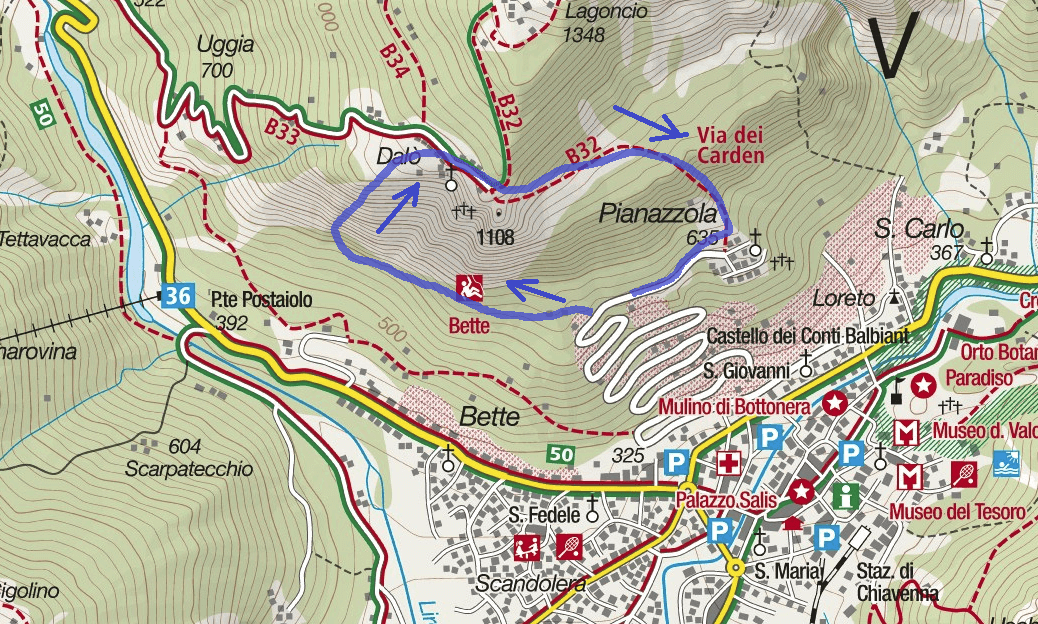 Biasini Route Ferrata Map