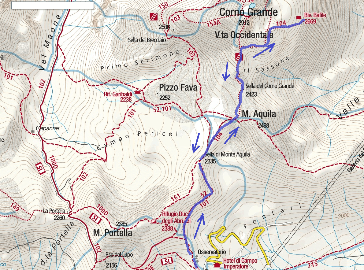 Bafile Shelter Ferrata Map Itinerary
