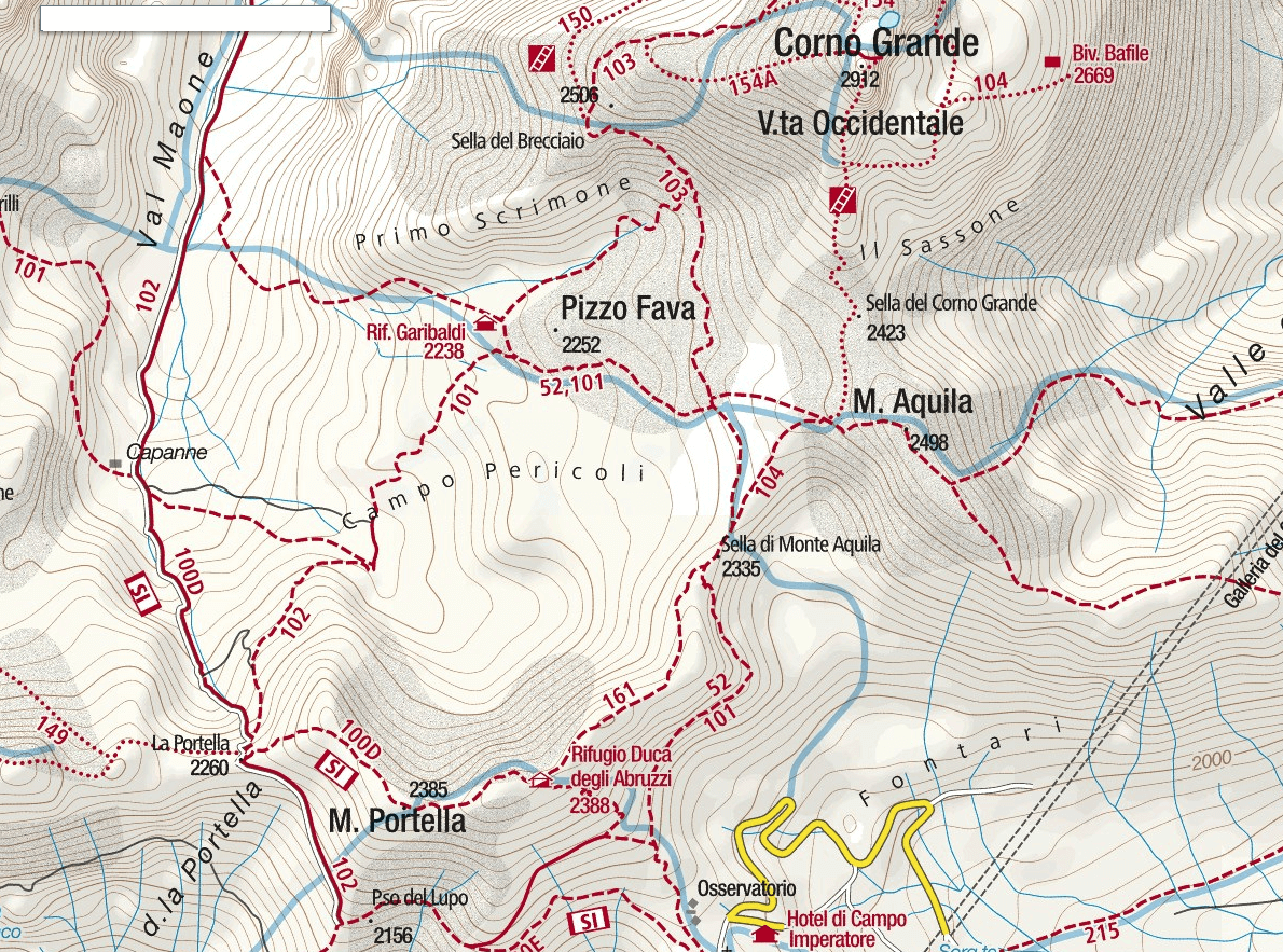 Bafile Shelter Ferrata Map