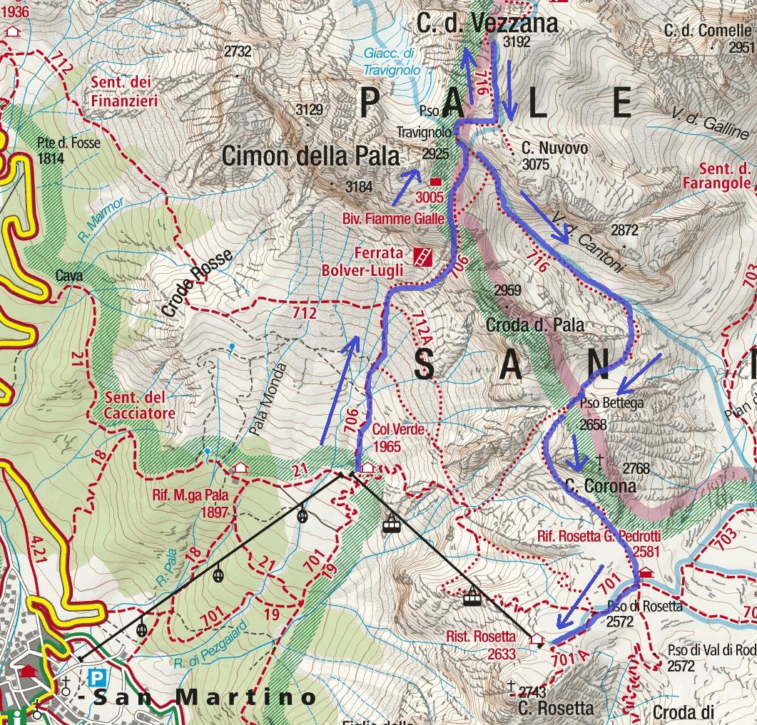 Bolver Ferrata map Lugli Vezzana Route 1