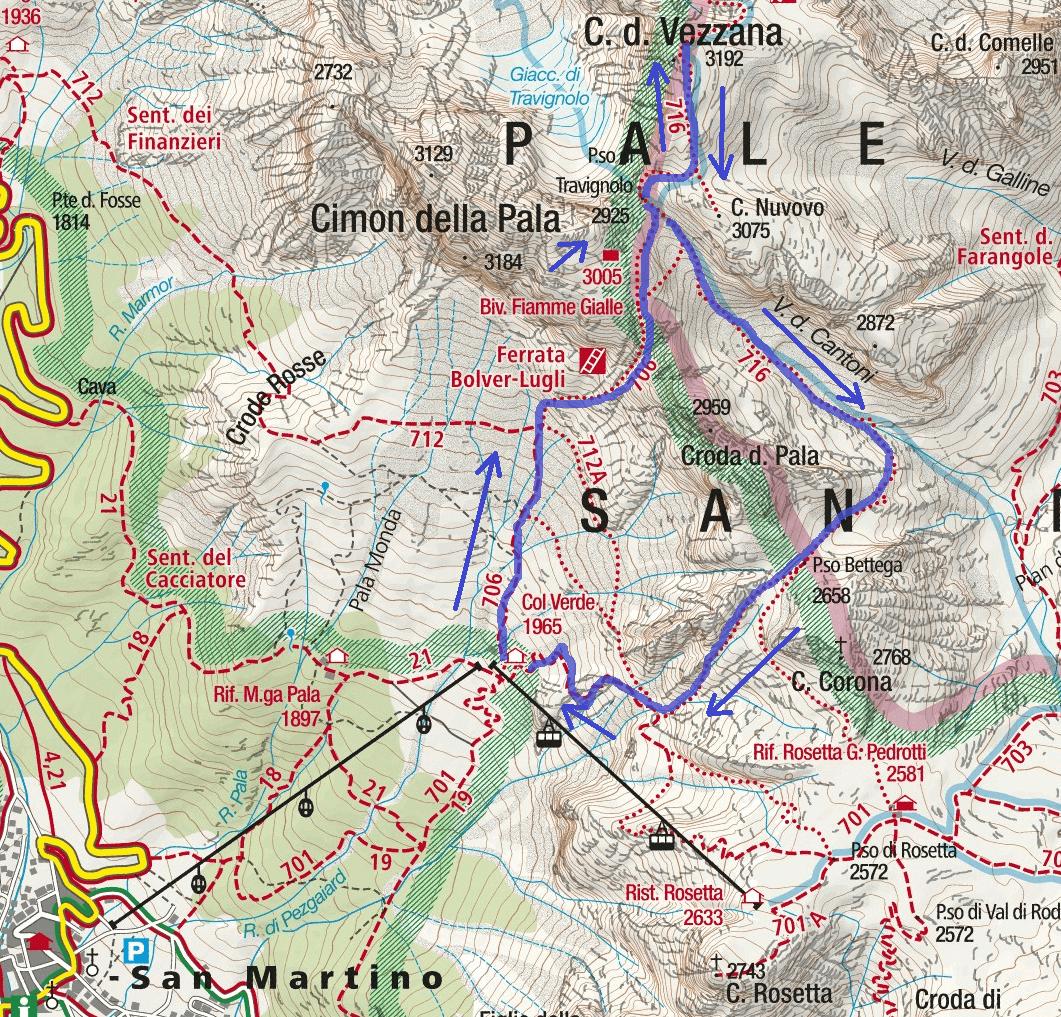 Bolver Ferrata map Lugli Vezzana Route 2