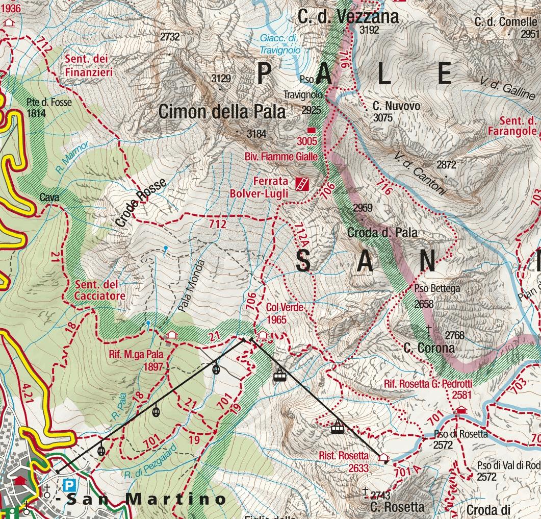 Bolver Lugli Vezzana Ferrata Map