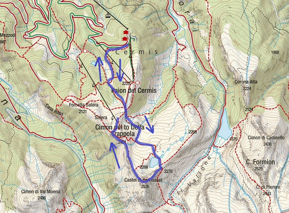 Bombasel Ferrata Route Map