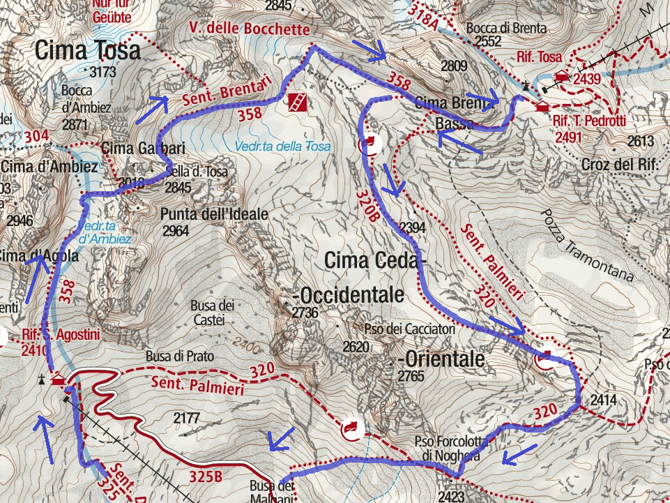 Ferrata Brentari Route Itinerary 1