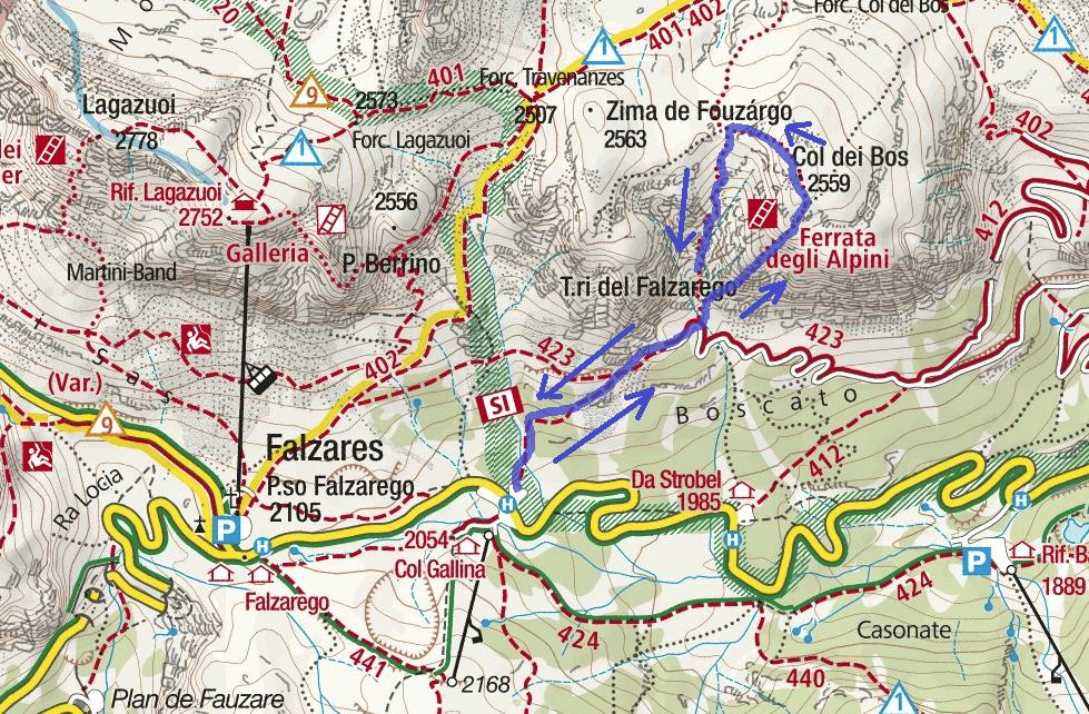 Cartina Ferrata Brigata Alpina Col dei Bos