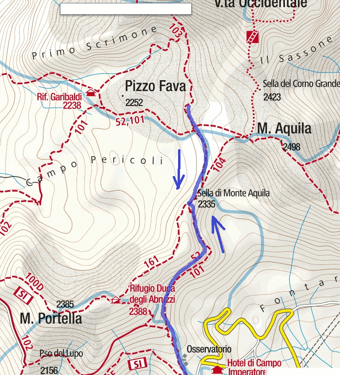 Brizio Ferrata Map Detail 1 Itinerary