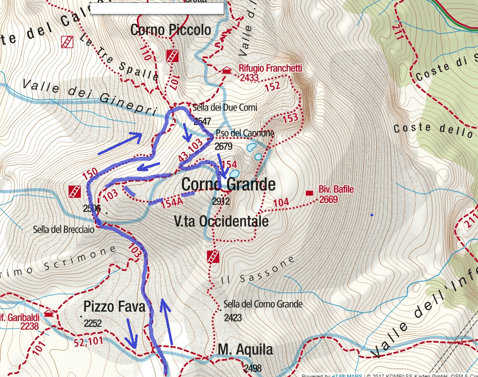 Brizio Ferrata Map Detail 2 Itinerary