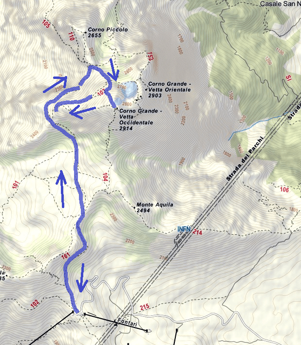 Brizio Ferrata Route Map