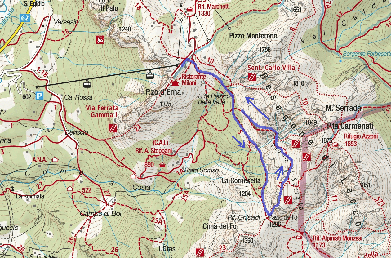 Ferrata Buco Carlotta Itinerary Map