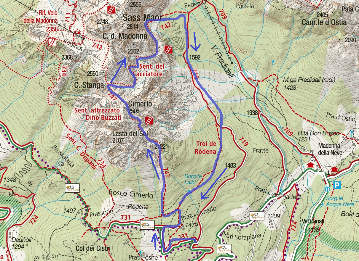 Buzzati Ferrata Route Map