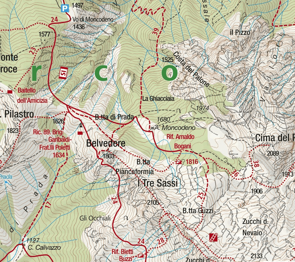CAI Ferrata Map Mandello Sasso Carbonari Northern Grigna Detail 1