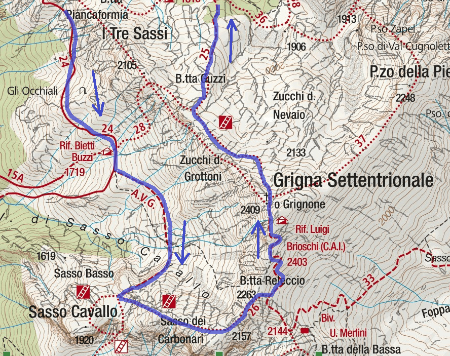 CAI Ferrata Map Mandello Sasso Carbonari Northern Grigna Detail 2 Itinerary