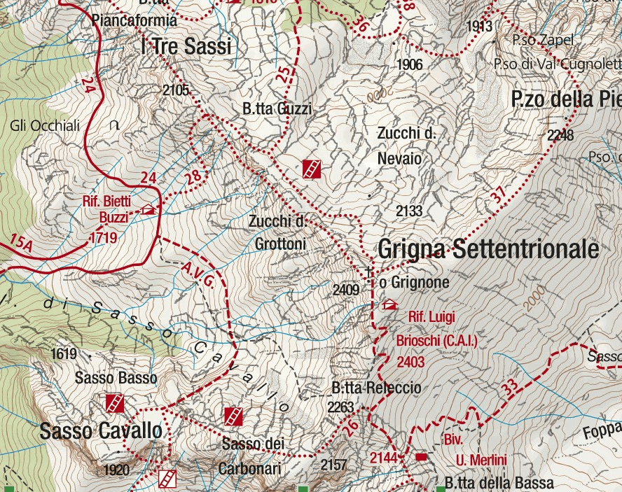 CAI Ferrata Map Mandello Sasso Carbonari Northern Grigna Detail 2